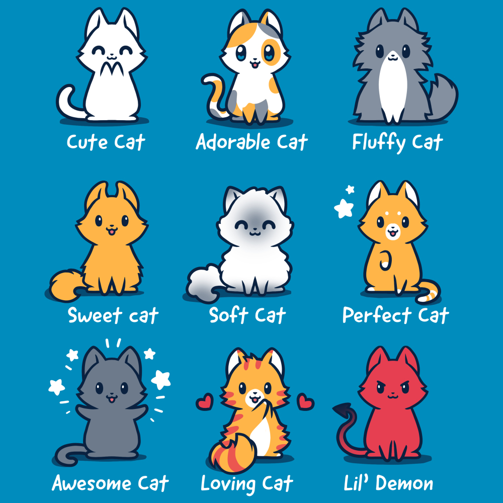 All the Cats TeeTurtle blue t-shirt featuring 9 different types of cats