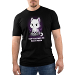 Don't Bother Me Right Meow men's T-shirt modelTeeTurtle black t-shirt featuring a white cat playing video games with shirt text