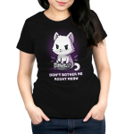 Don't Bother Me Right Meow women's T-shirt model TeeTurtle black t-shirt featuring a white cat playing video games with shirt text