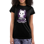 Don't Bother Me Right Meow Juniors' T-shirt model TeeTurtle black t-shirt featuring a white cat playing video games with shirt text