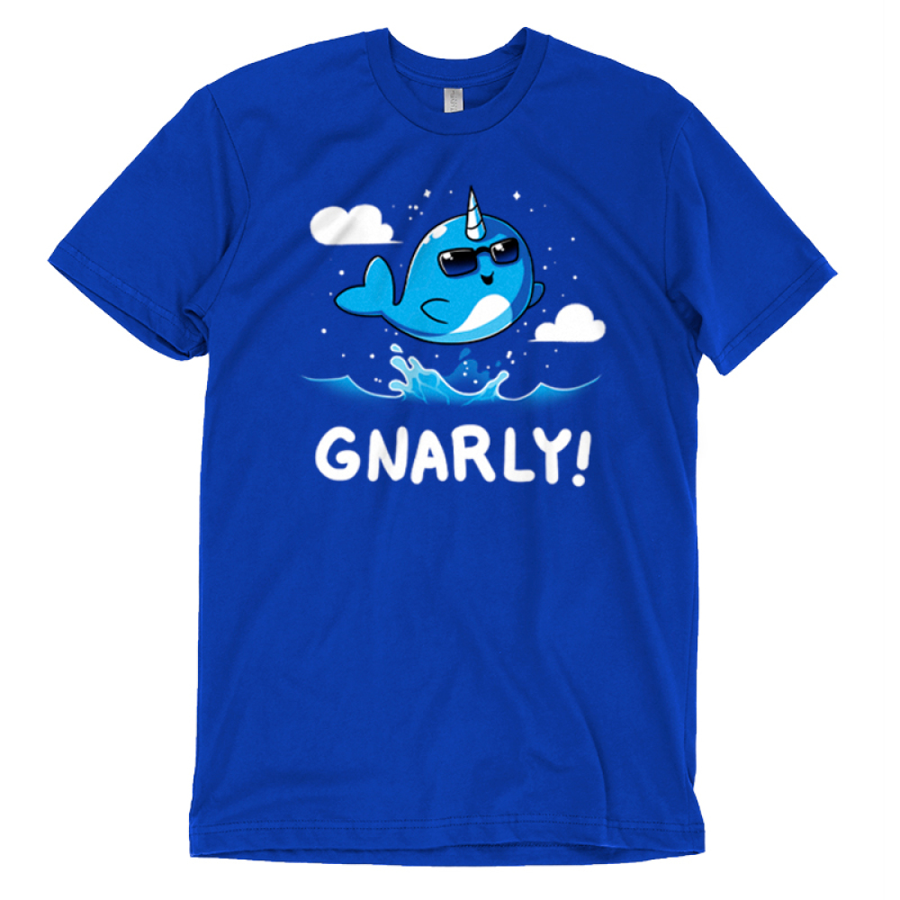 Gnarly T-shirt TeeTurtle blue t-shirt featuring a narwhal jumping out of the water with shirt text