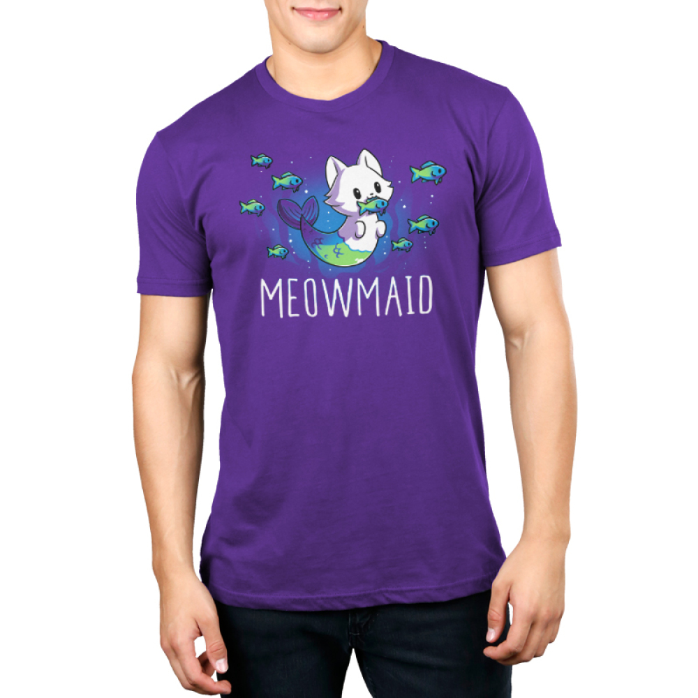 Meowmaid men's T-shirt model TeeTurtle purple t-shirt featuring a half cat half mermaid holding a fish in its mouth while other fish swim around it with shirt text