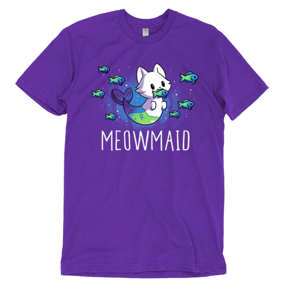 Meowmaid T-shirt TeeTurtle purple t-shirt featuring a half cat half mermaid holding a fish in its mouth while other fish swim around it with shirt text