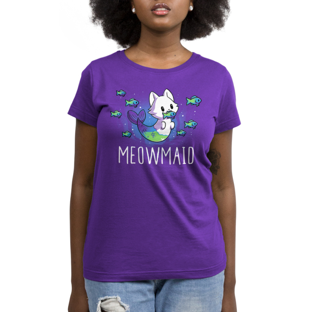 Meowmaid women's T-shirt model TeeTurtle purple t-shirt featuring a half cat half mermaid holding a fish in its mouth while other fish swim around it with shirt text
