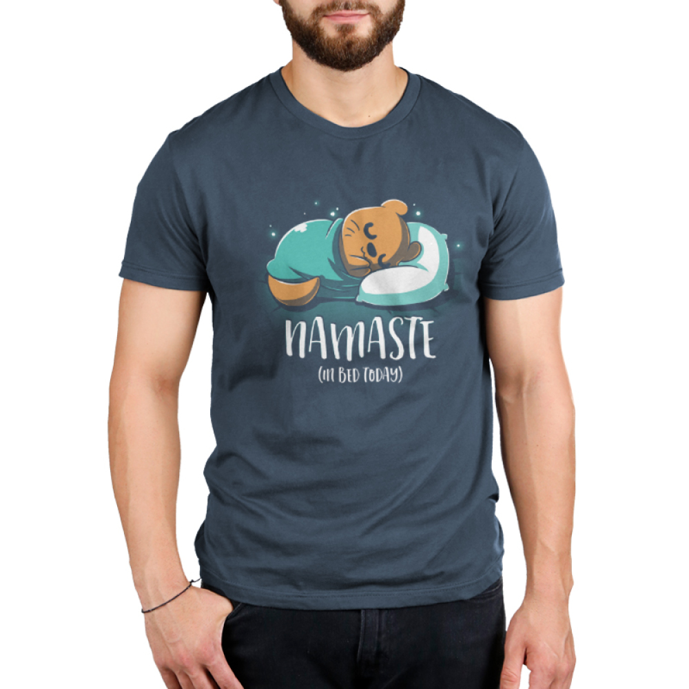 Namaste (In Bed Today) Men's t-shirt model TeeTurtle indigo t-shirt featuring an otter curled up in a blanket sleeping with shirt text