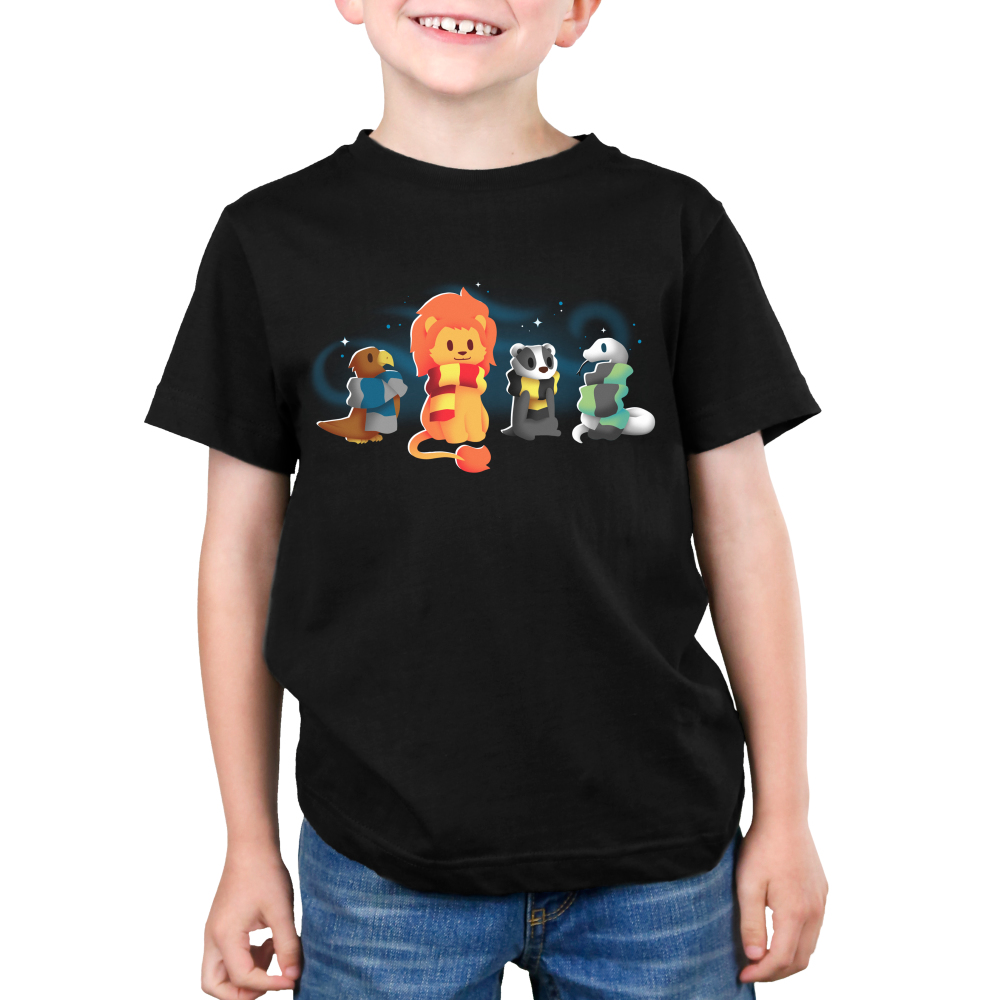 Brave Loyal Wise & Cunning kid's T-shirt model TeeTurtle black t-shirt featuring a bird, a lion, a badger, and a snake all wearing different colored scarves