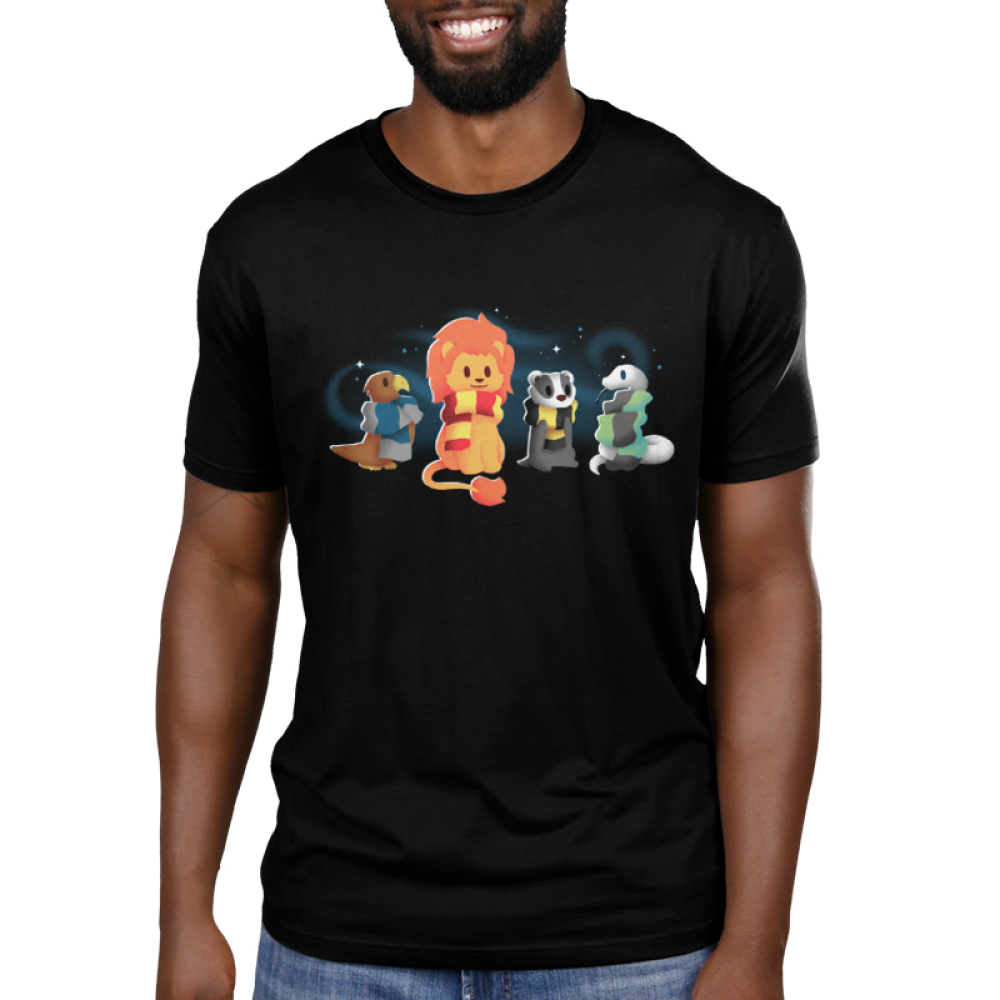 Brave Loyal Wise & Cunning Men's T-shirt model TeeTurtle black t-shirt feauring a bird, a lion, a badger, and a snake all wearing different colored scarves