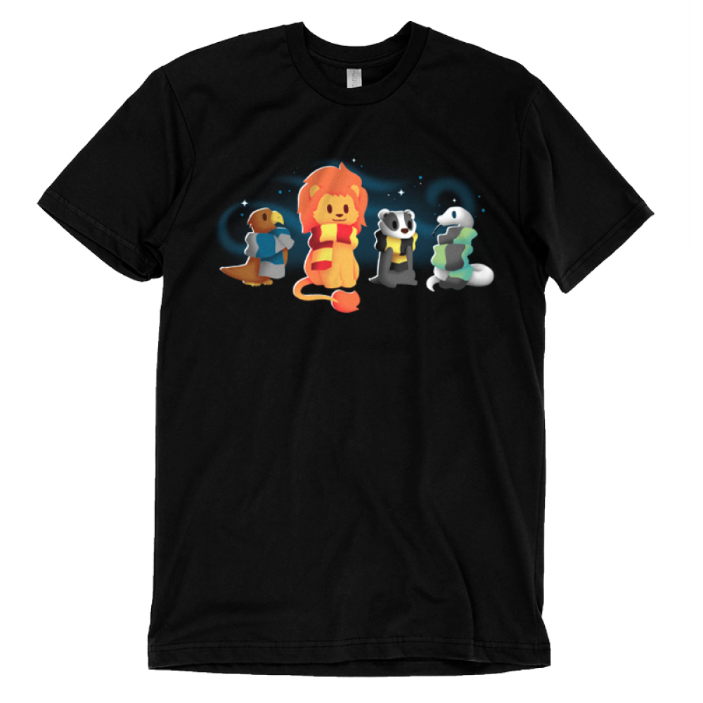 Brave Loyal Wise & Cunning T-shirt TeeTurtle black t-shirt featuring a bird, a lion, a badger, and a snake all wearing different colored scarves