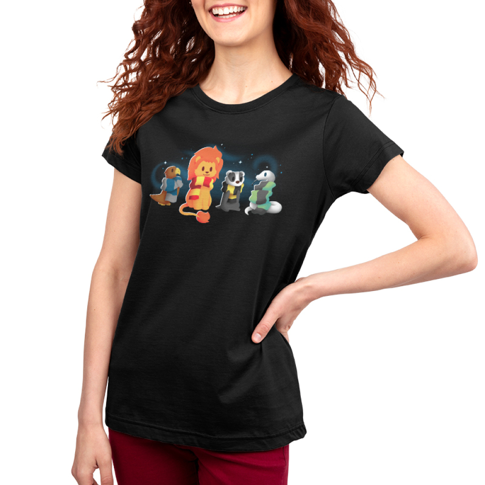 Brave Loyal Wise & Cunning women's T-shirt model TeeTurtle black t-shirt featuring a bird, a lion, a badger, and a snake all wearing different colored scarves
