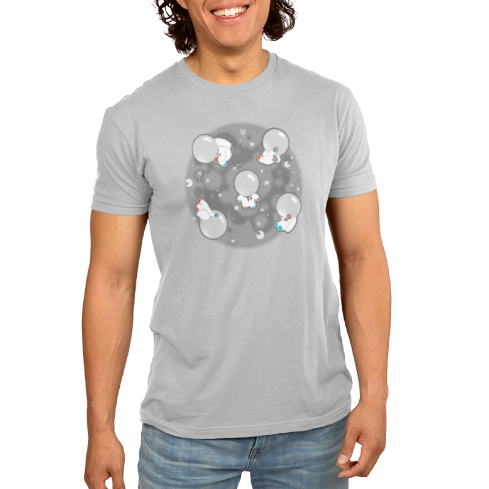 Space Bobs men's t-shirt model TeeTurtle gray t-shirt featuring a bunch of blobs floating around