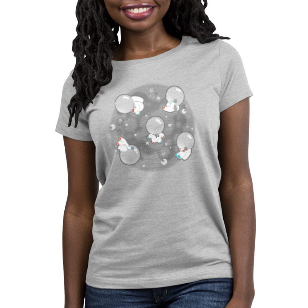 Space Bobs women's t-shirt model TeeTurtle gray t-shirt featuring a bunch of blobs floating around