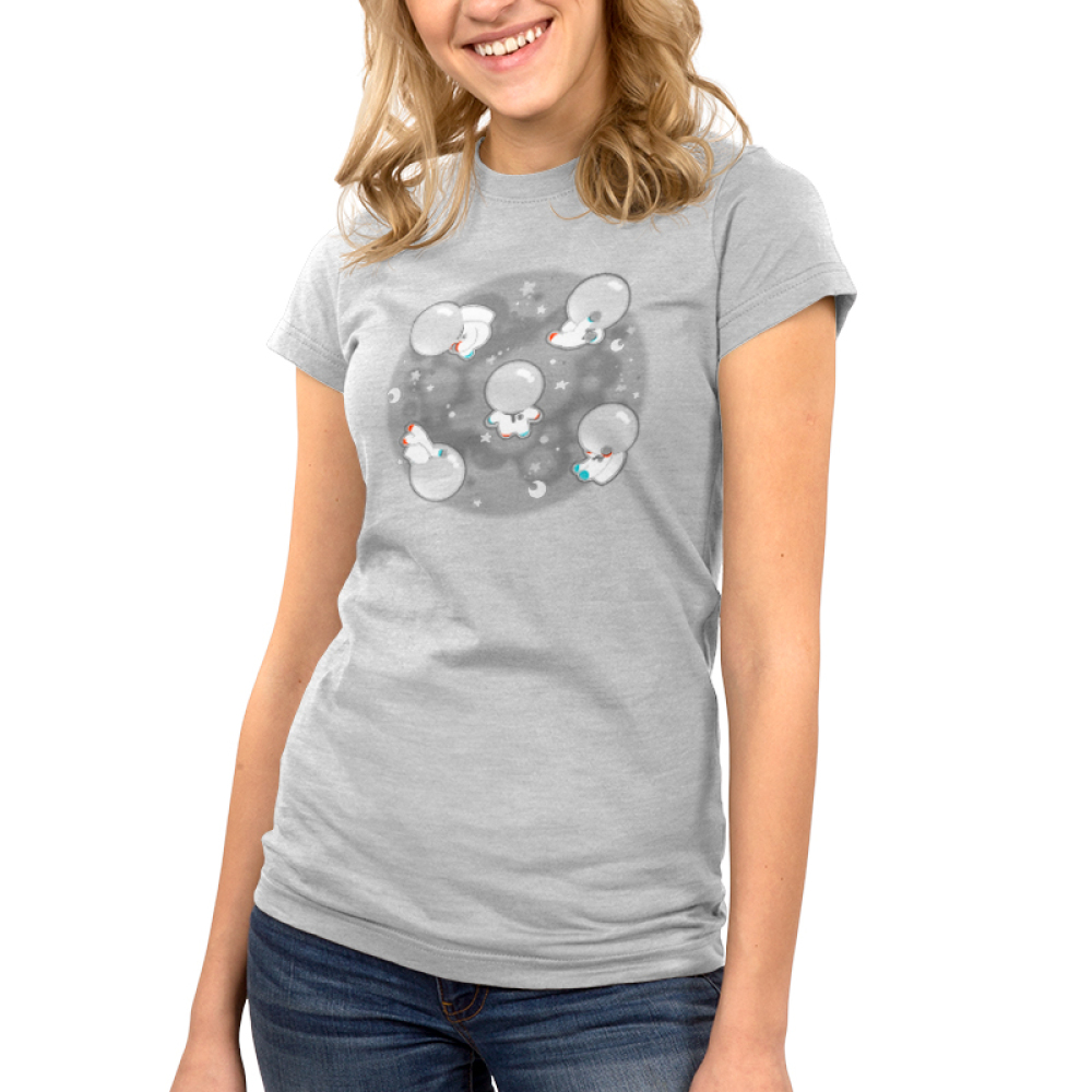 Space Bobs juniors t-shirt model TeeTurtle gray t-shirt featuring a bunch of blobs floating around