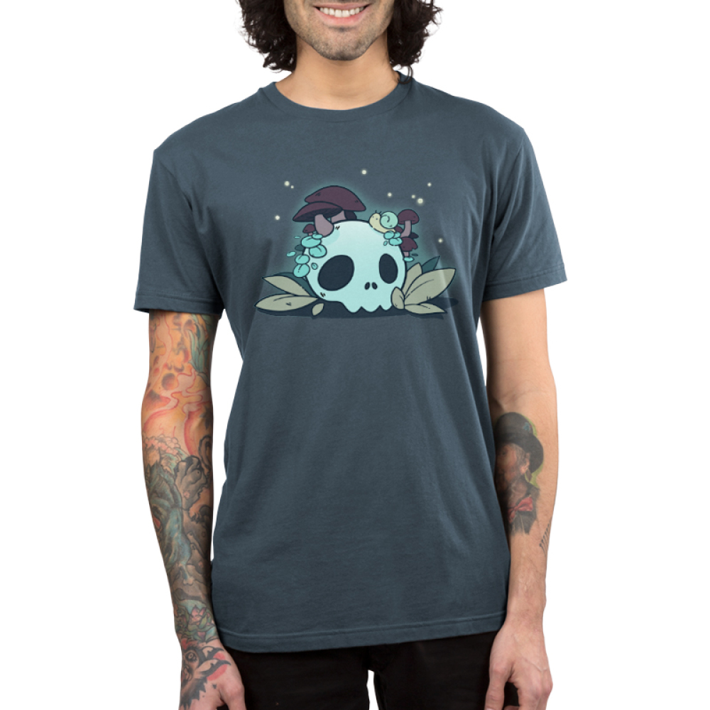 Fun Guys men's T-shirt model TeeTurtle indigo t-shirt featuring a skull with mushrooms coming out of it and a snail on top of it