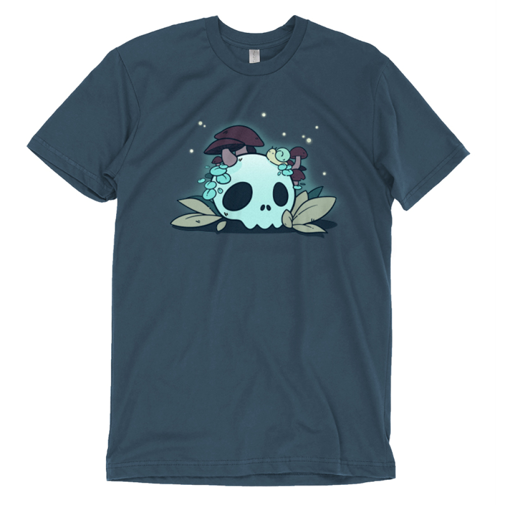 Fun Guys T-shirt TeeTurtle indigo t-shirt featuring a skull with mushrooms coming out of it and a snail on top of it