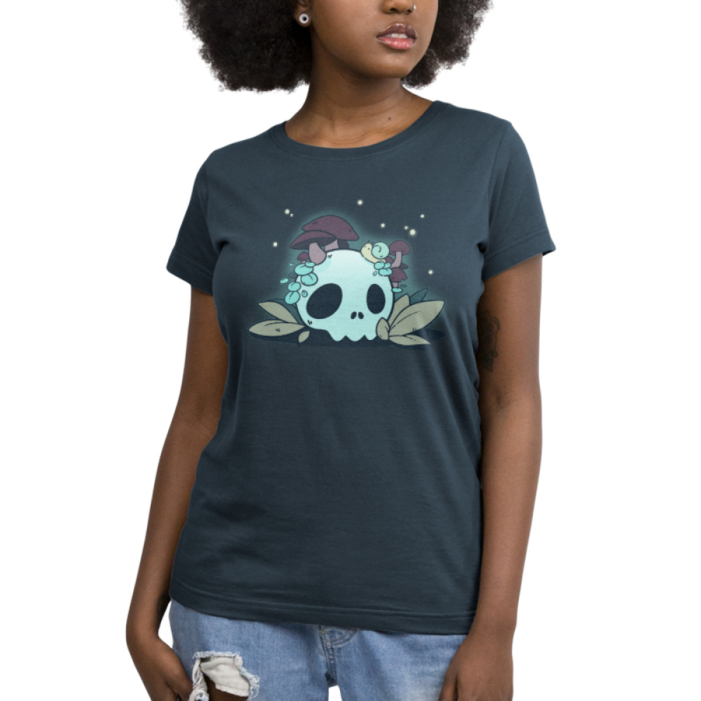 Fun Guys women's T-shirt model TeeTurtle indigo t-shirt featuring a skull with mushrooms coming out of it and a snail on top of it