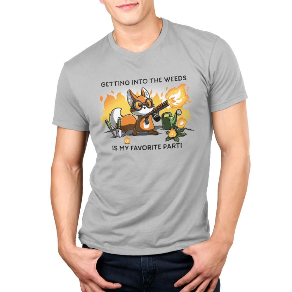 Getting into the Weeds Men's T-shirt model TeeTurtle gray t-shirt featuring a fox holding a flame throw with gardening tools and plants around him and shirt text