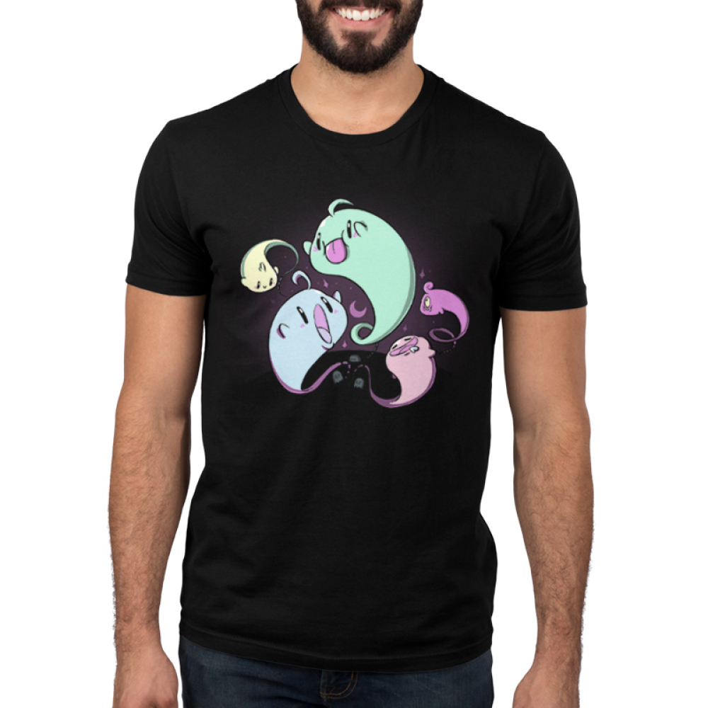 Lil' Spookies men's t-shirt model TeeTurtle black t-shirt featuring a bunch of different colored ghosts flying around
