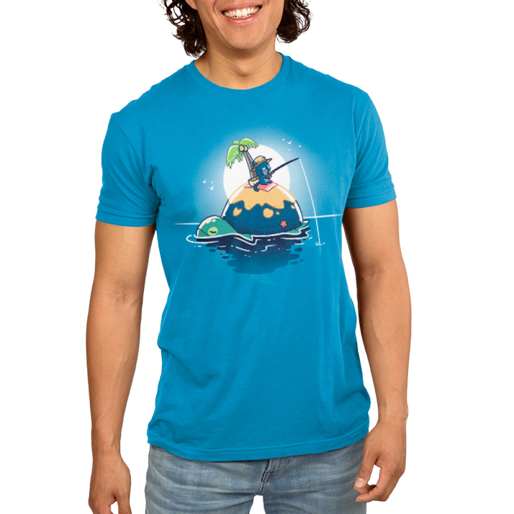 Gone Fishing men's T-shirt model TeeTurtle blue t-shirt featuring a cat fishing on the back of a turtle who also happens to be an island