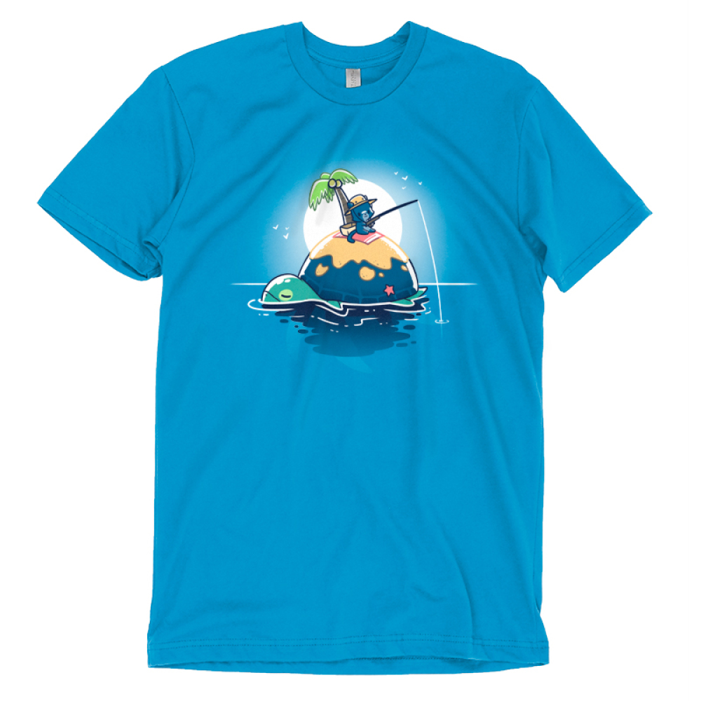 Gone Fishing T-shirt TeeTurtle blue t-shirt featuring a cat fishing on the back of a turtle who also happens to be an island