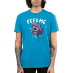 Feed Me! (Mermaid Shark) men's T-shirt model TeeTurtle blue t-shirt featuring a mermaid with shark teeth with shirt text