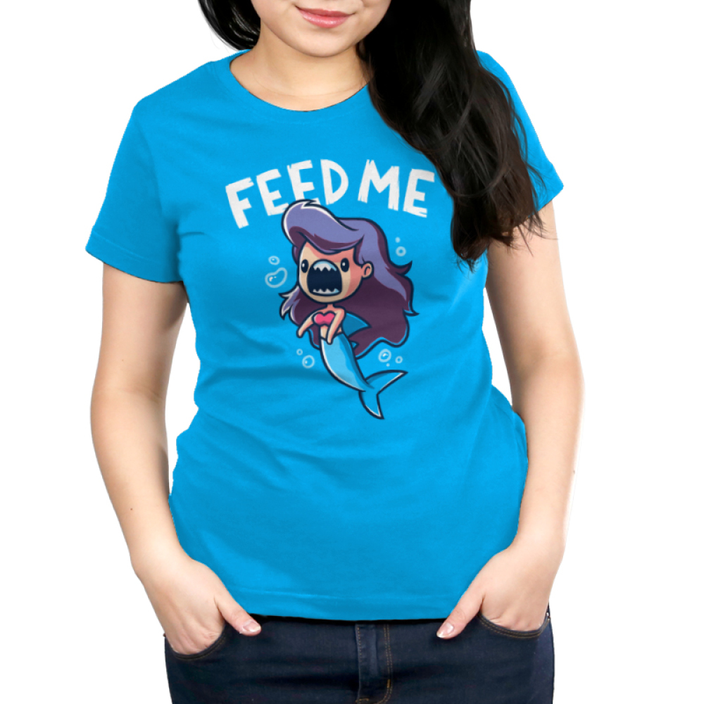 Feed Me! (Mermaid Shark) women's T-shirt model TeeTurtle blue t-shirt featuring a mermaid with shark teeth with shirt text