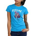Feed Me! (Mermaid Shark) juniors T-shirt model TeeTurtle blue t-shirt featuring a mermaid with shark teeth with shirt text
