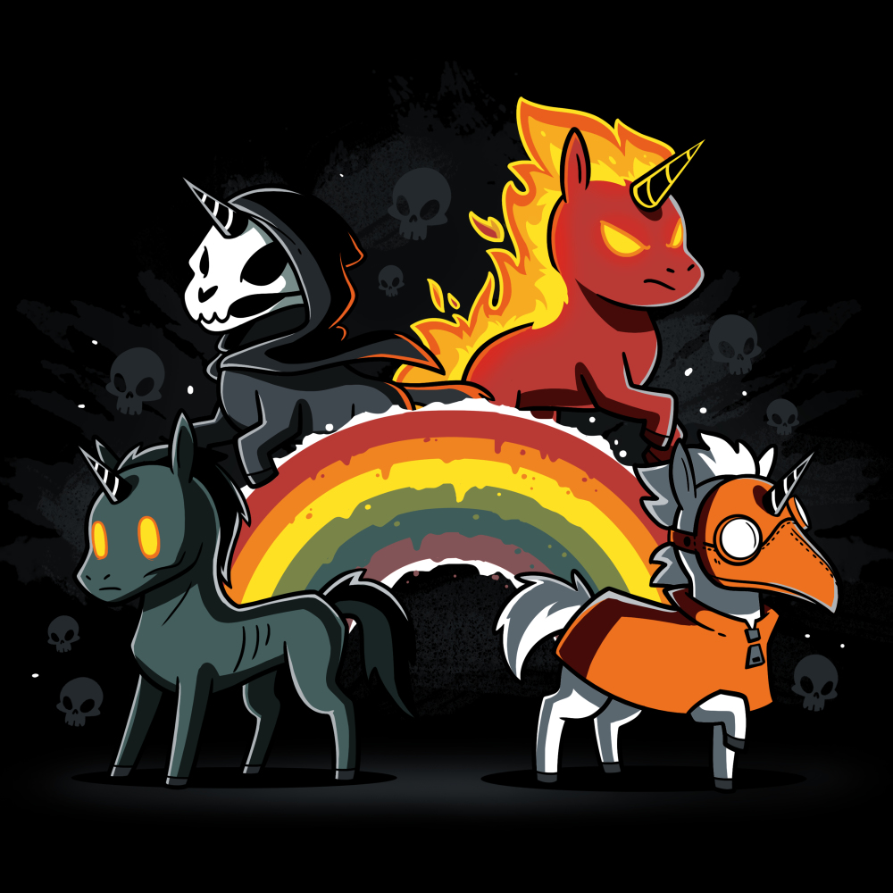 Four Unicorns of the Apocalypse (v2) T-shirt TeeTurtle black t-shirt featuring four unicorns. One is all black, one is flaming, one has a skull face, and one is wearing an orange mask