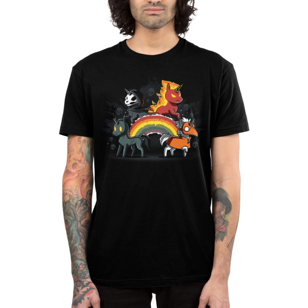 Four Unicorns of the Apocalypse (v2) men's T-shirt model TeeTurtle black t-shirt featuring four unicorns. One is all black, one is flaming, one has a skull face, and one is wearing an orange mask