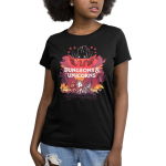 Dungeons and Unicorns (V2) women's t-shirt model TeeTurtle black t-shirt featuring 3 unicorns with a flaming game set up and a larger unicorn behind them with shirt text