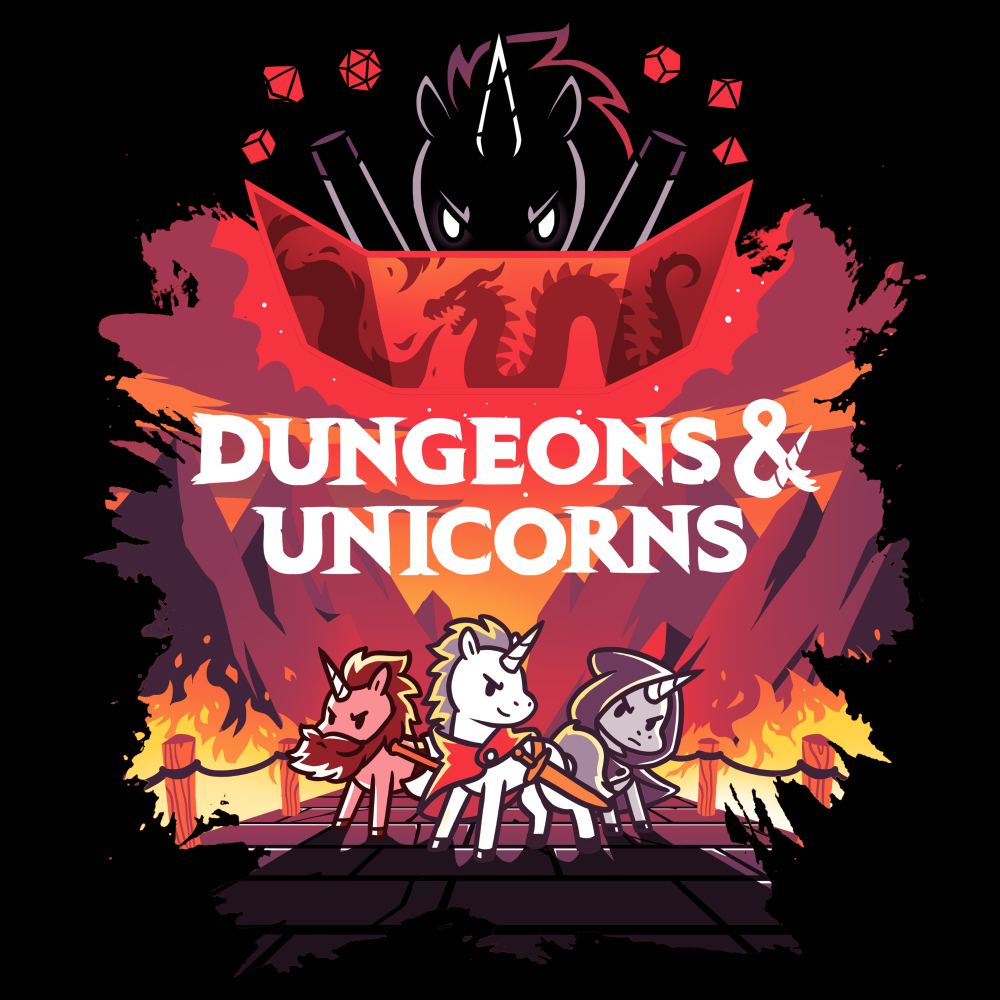 Dungeons and Unicorns (V2) t-shirt TeeTurtle black t-shirt featuring 3 unicorns with a flaming game set up and a larger unicorn behind them with shirt text