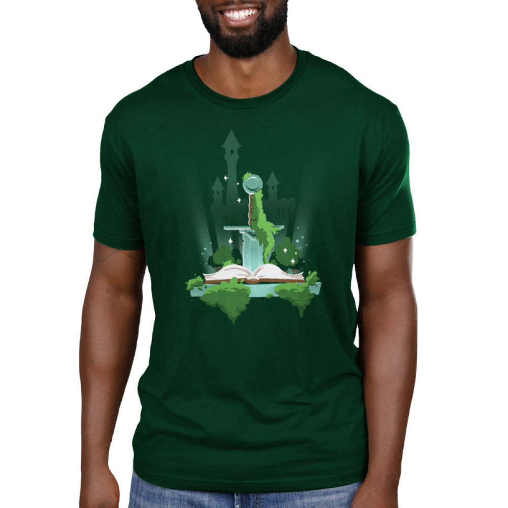 Pen and Sword men's T-shirt model TeeTurtle green t-shirt featuring a sword sticking into a book with a castle in the background