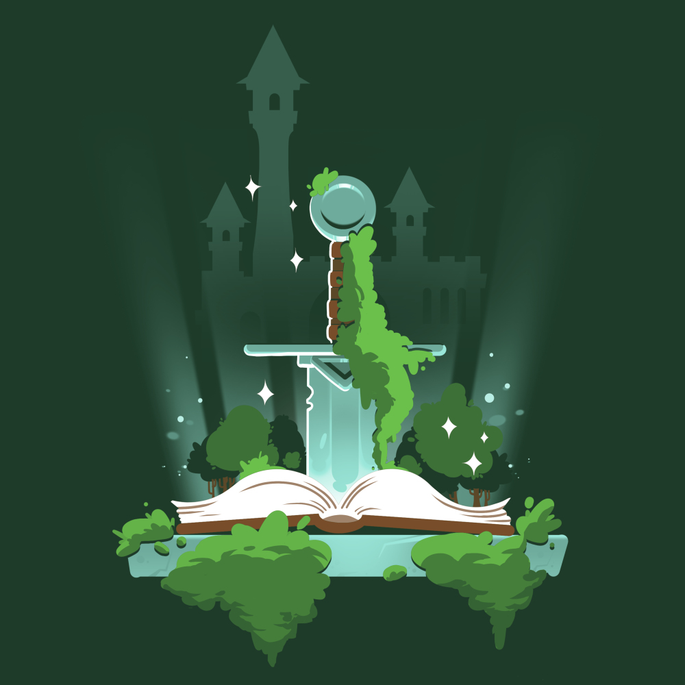 Pen and Sword T-shirt TeeTurtle green t-shirt featuring a sword sticking into a book with a castle in the background