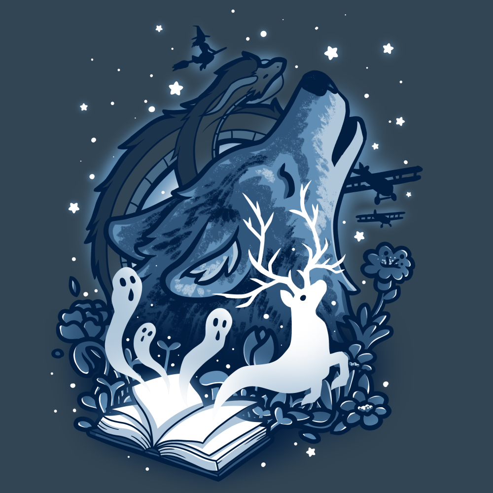 Open a Book t-shirt TeeTurtle indigo t-shirt featuring an open book with creatures coming out of it including ghosts, a deer, dragons, and a large wolf