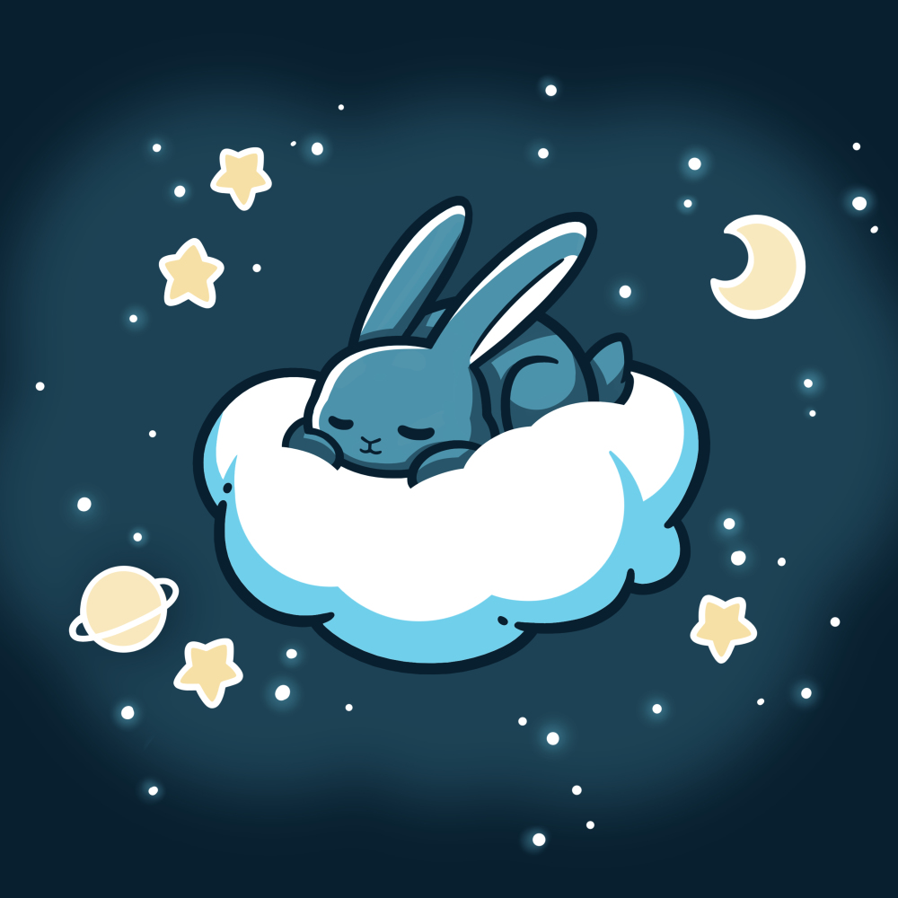 Cloud Hopper t-shirt TeeTurtle navy t-shirt featuring a gray bunny sleeping on a cloud with a moon, a planet, and stars all around it