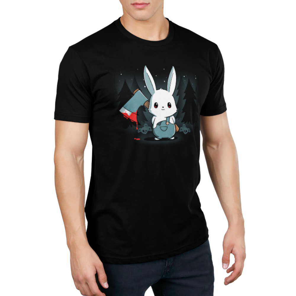 Bad Axe Bunny Men's t-shirt modelTeeTurtle black t-shirt featuring a white bunny with an axe surrounded by trees and stars