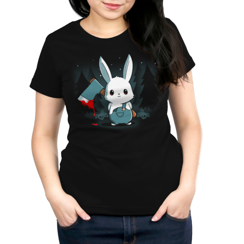Bad Axe Bunny Women's t-shirt modelTeeTurtle black t-shirt featuring a white bunny with an axe surrounded by trees and stars
