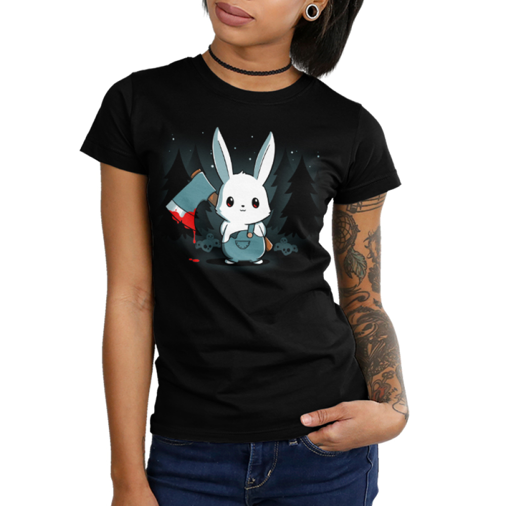 Bad Axe Bunny Junior's t-shirt modelTeeTurtle black t-shirt featuring a white bunny with an axe surrounded by trees and stars