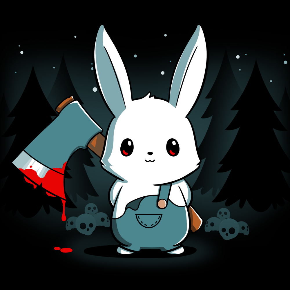 Bad Axe Bunny t-shirt TeeTurtle black t-shirt featuring a white bunny with an axe surrounded by trees and stars