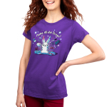 Make All the Things! Junior's t-shirt model TeeTurtle purple t-shirt featuring a crafty white bunny surrounded by yarn, paint, scissors, glue, markers, and stars