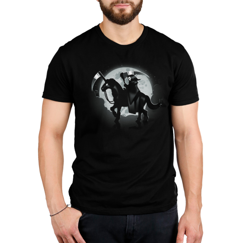 The Deadliest Unicorn (V2) men's T-shirt model TeeTurtle black t-shirt featuring the grim reaper riding a unicorn with a blade for a horn and the moon is behind them