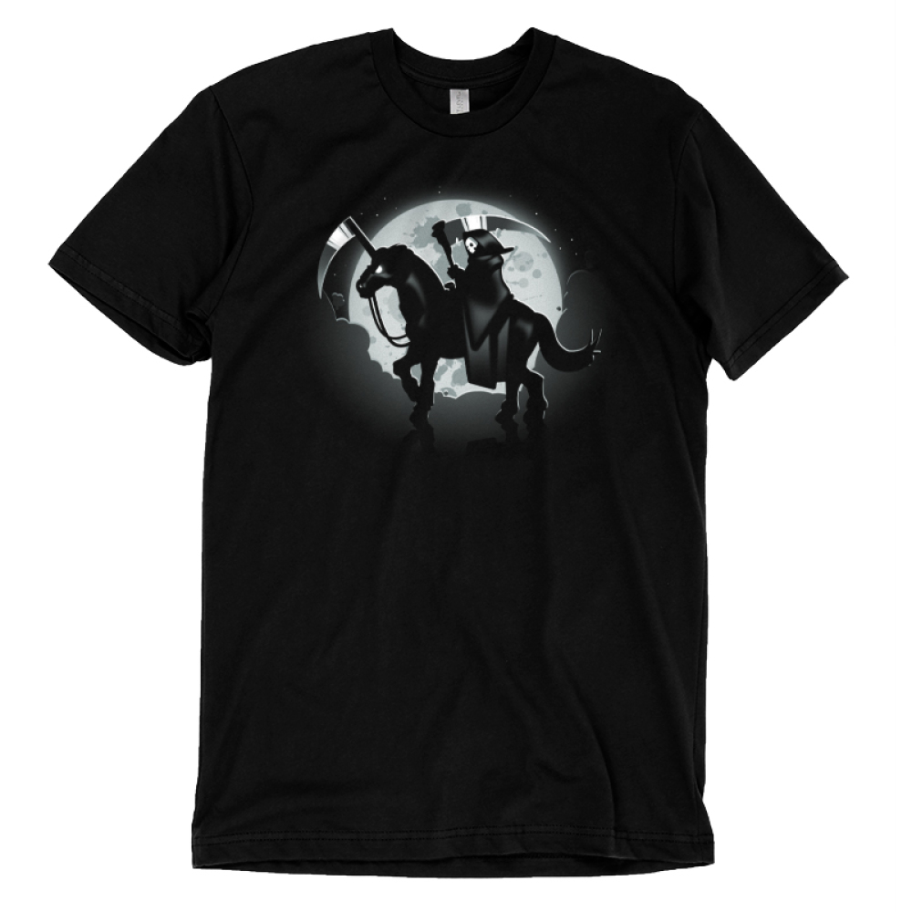 The Deadliest Unicorn (V2) T-shirt TeeTurtle black t-shirt featuring the grim reaper riding a unicorn with a blade for a horn and the moon is behind them