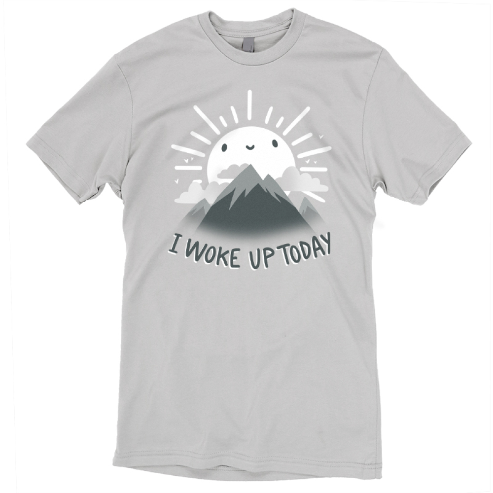 I Woke Up Today t-shirt TeeTurtle gray t-shirt featuring a sun shinning behind mountains