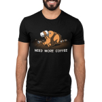 Need More Coffee Men's T-shirt Model TeeTurtle black t-shirt featuring a crazy looking squirrel drinking coffee with coffee cups surrounding him and shirt text
