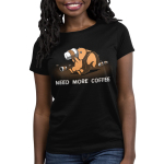 Need More Coffee Women's T-shirt Model TeeTurtle black t-shirt featuring a crazy looking squirrel drinking coffee with coffee cups surrounding him and shirt text