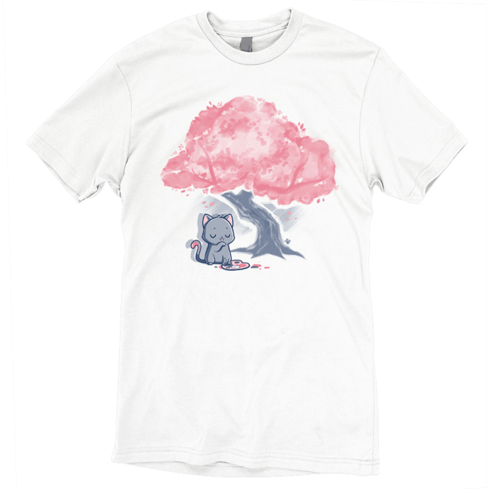 Meowsterpiece t-shirt TeeTurtle white t-shirt featuring a a grey cat making a mess while painting a tree