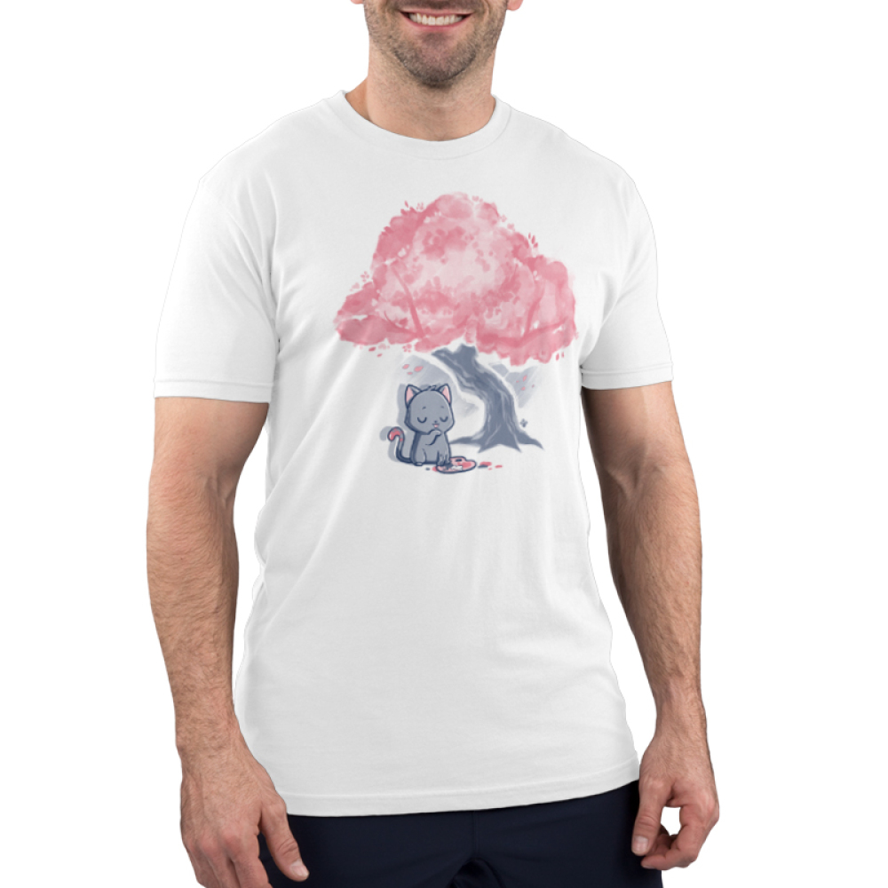 Meowsterpiece Men's t-shirt model TeeTurtle white t-shirt featuring a a grey cat making a mess while painting a tree