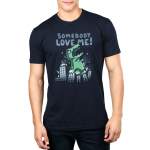 Somebody Love Me! Men's t-shirt model TeeTurtle navy t-shirt featuring am angry dinosaur smashing through a city