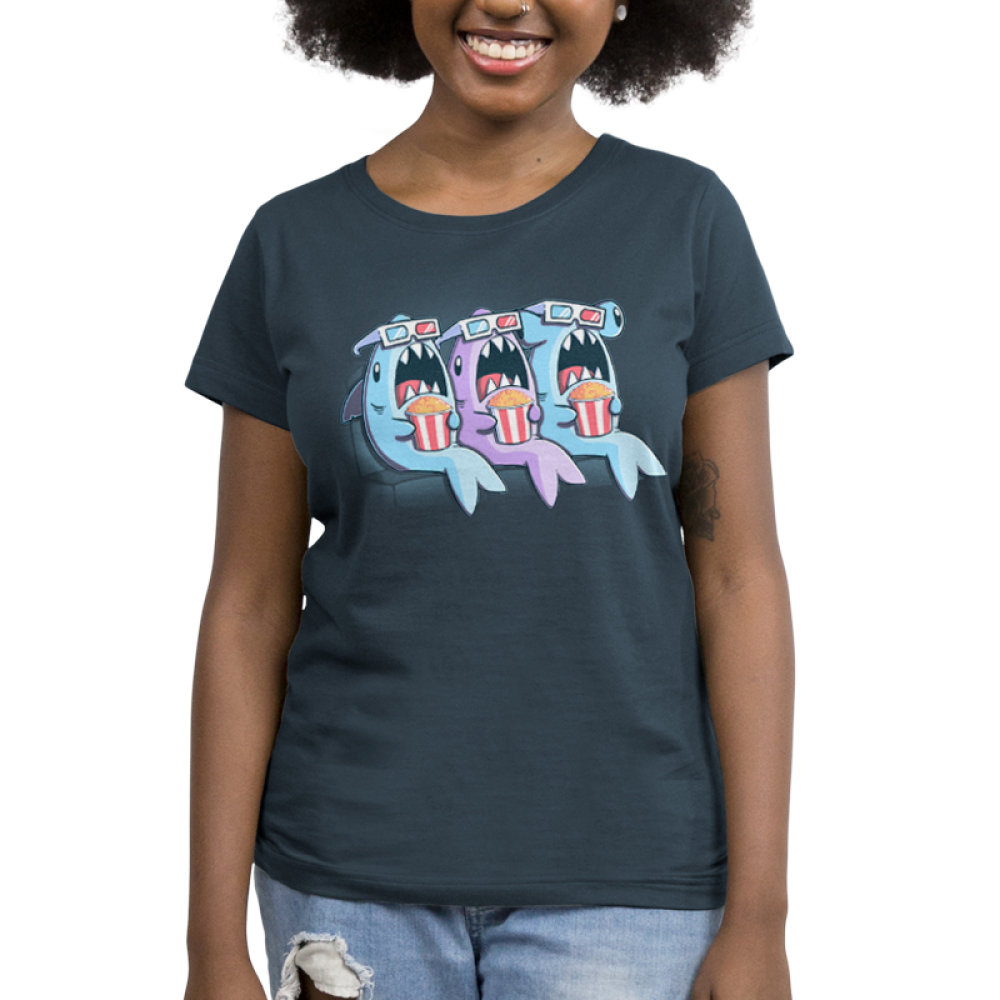 Movie Sharks Women's t-shirt model TeeTurtle Indigo t-shirt featuring three sharks with 3D movie glasses and popcorn watching a movie