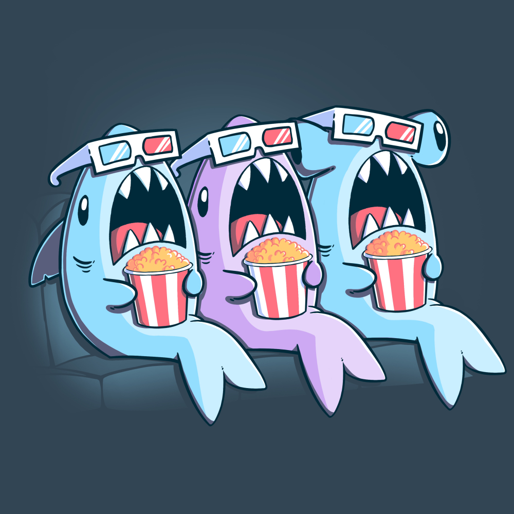 Movie Sharks t-shirt TeeTurtle Indigo t-shirt featuring three sharks with 3D movie glasses and popcorn watching a movie