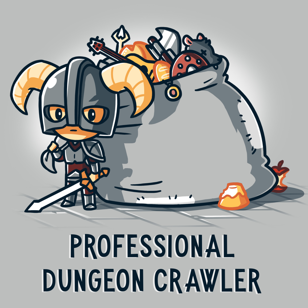 Professional Dungeon Crawler t-shirt TeeTurtle gray t-shirt featuring a little knight wearing a horn helmet, armor, and a sword, with a big sack of treasures